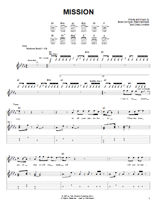 Mission sheet music