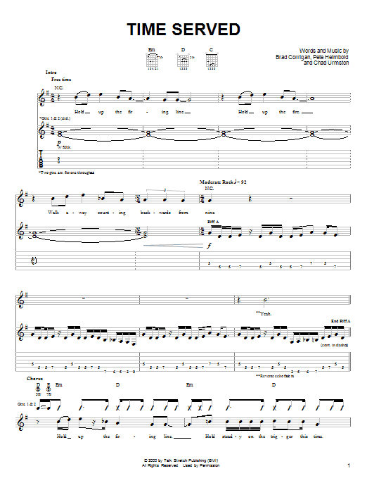 Time Served sheet music
