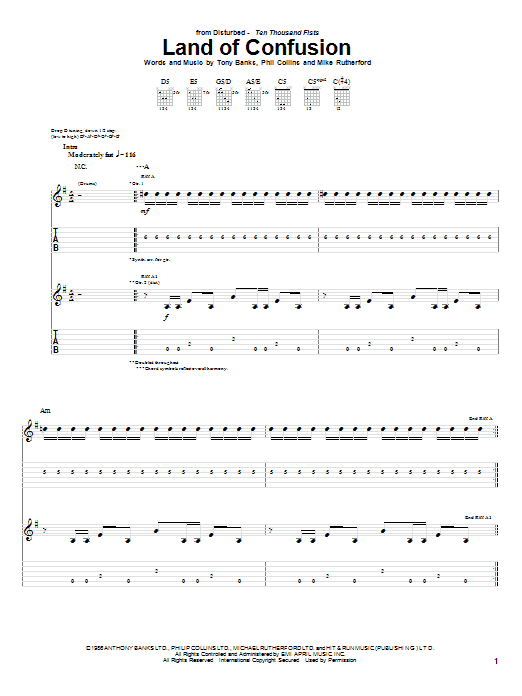 Land Of Confusion sheet music