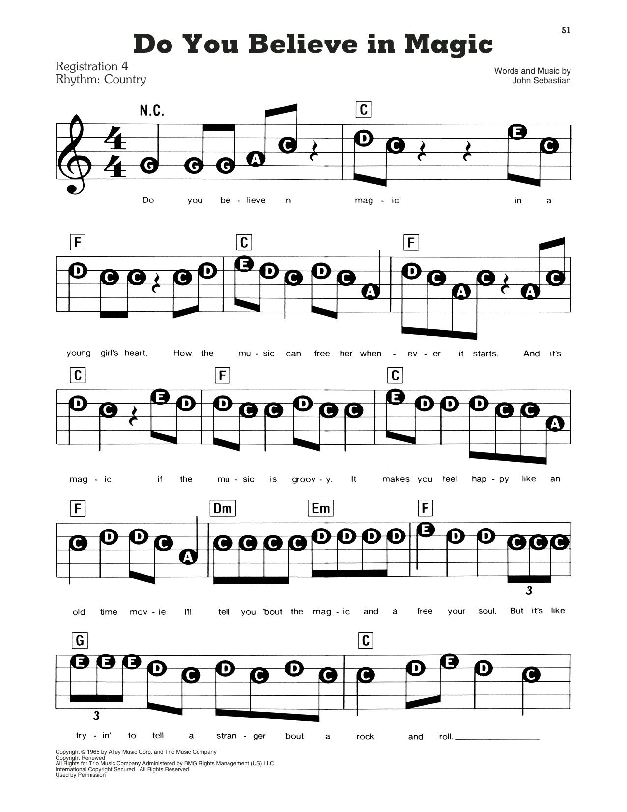 Lovin Spoonful Do You Believe In Magic Sheet Music Download Pdf Score 182401