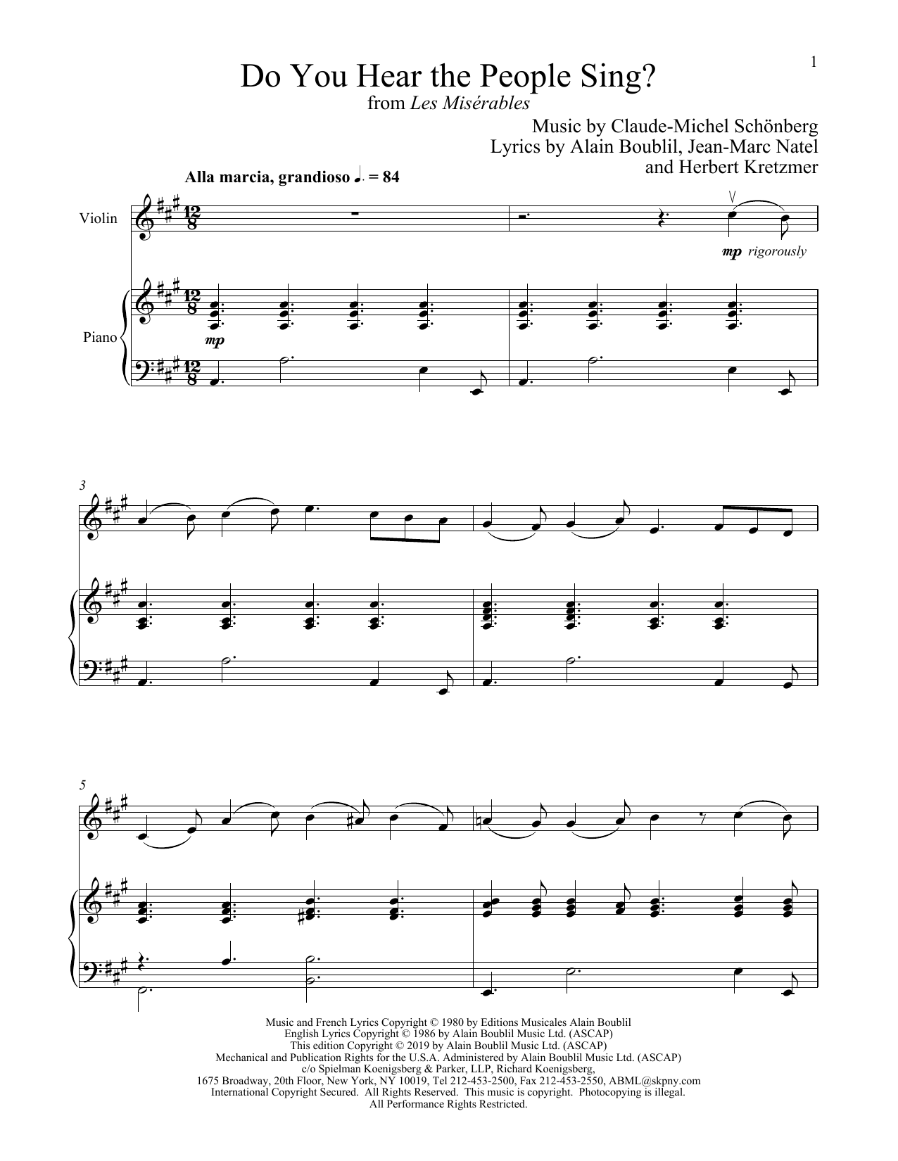 Claude Michel Schonberg Do You Hear The People Sing From Les Miserables Sheet Music Download Pdf Score 358290