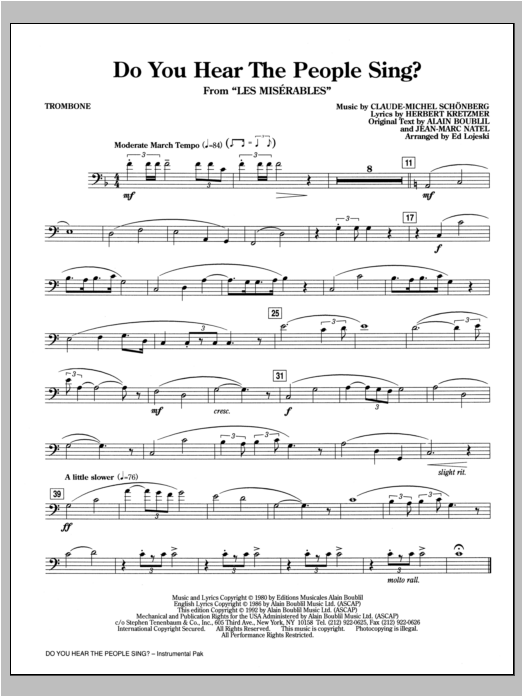 Boublil And Schonberg Do You Hear The People Sing From Les Miserables Arr Ed Lojeski Trombone Sheet Music Download Pdf Score 312346