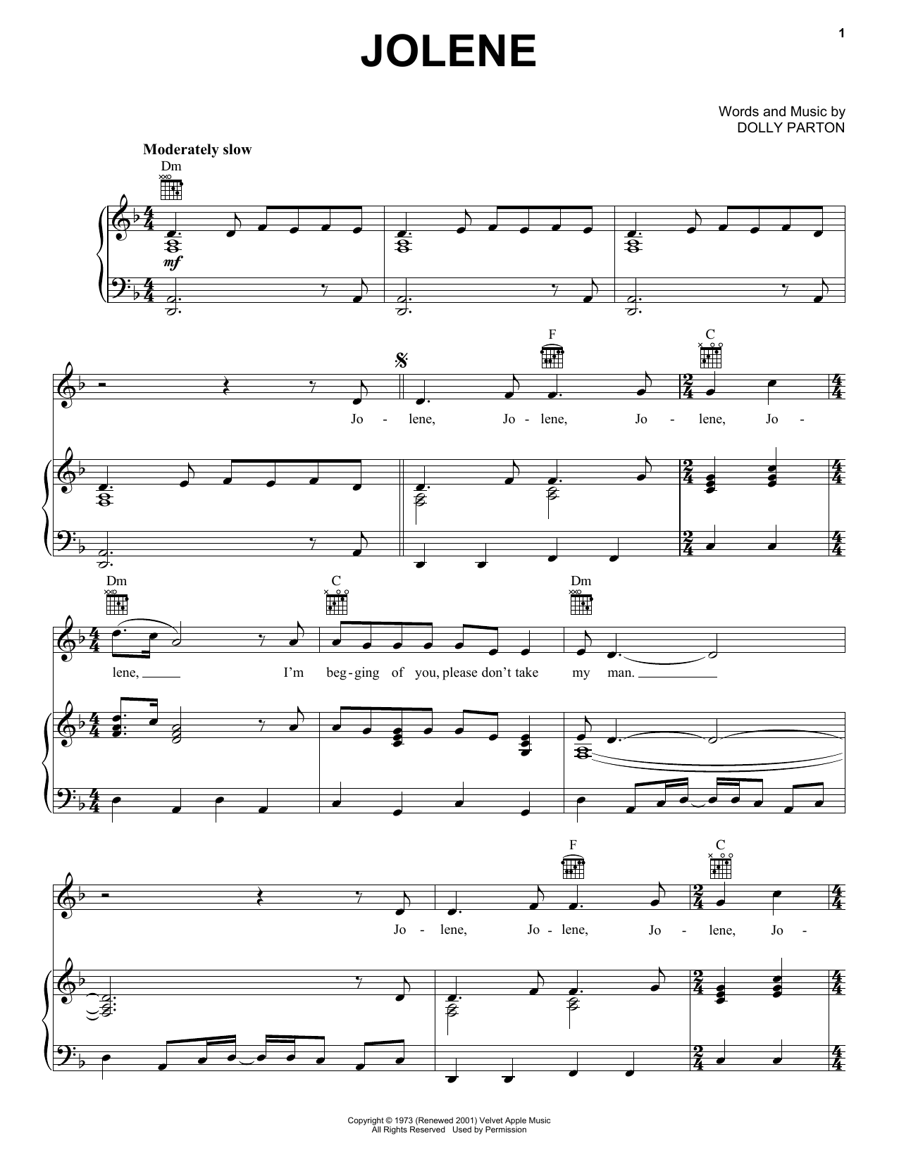 Jolene sheet music