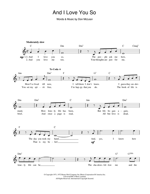And I Love You So sheet music
