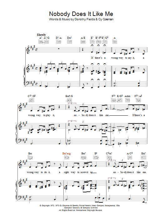 Nobody Does It Like Me sheet music
