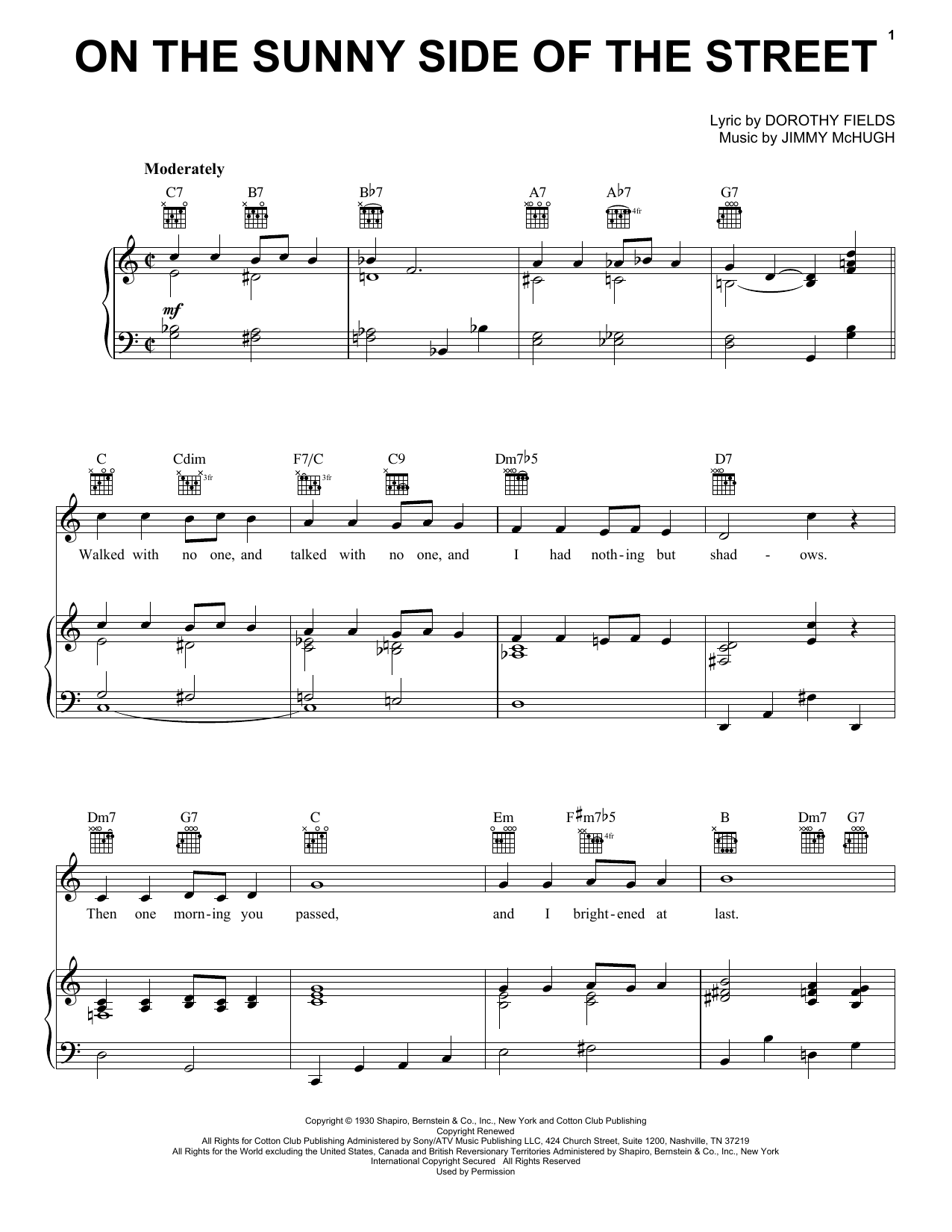 On The Sunny Side Of The Street sheet music