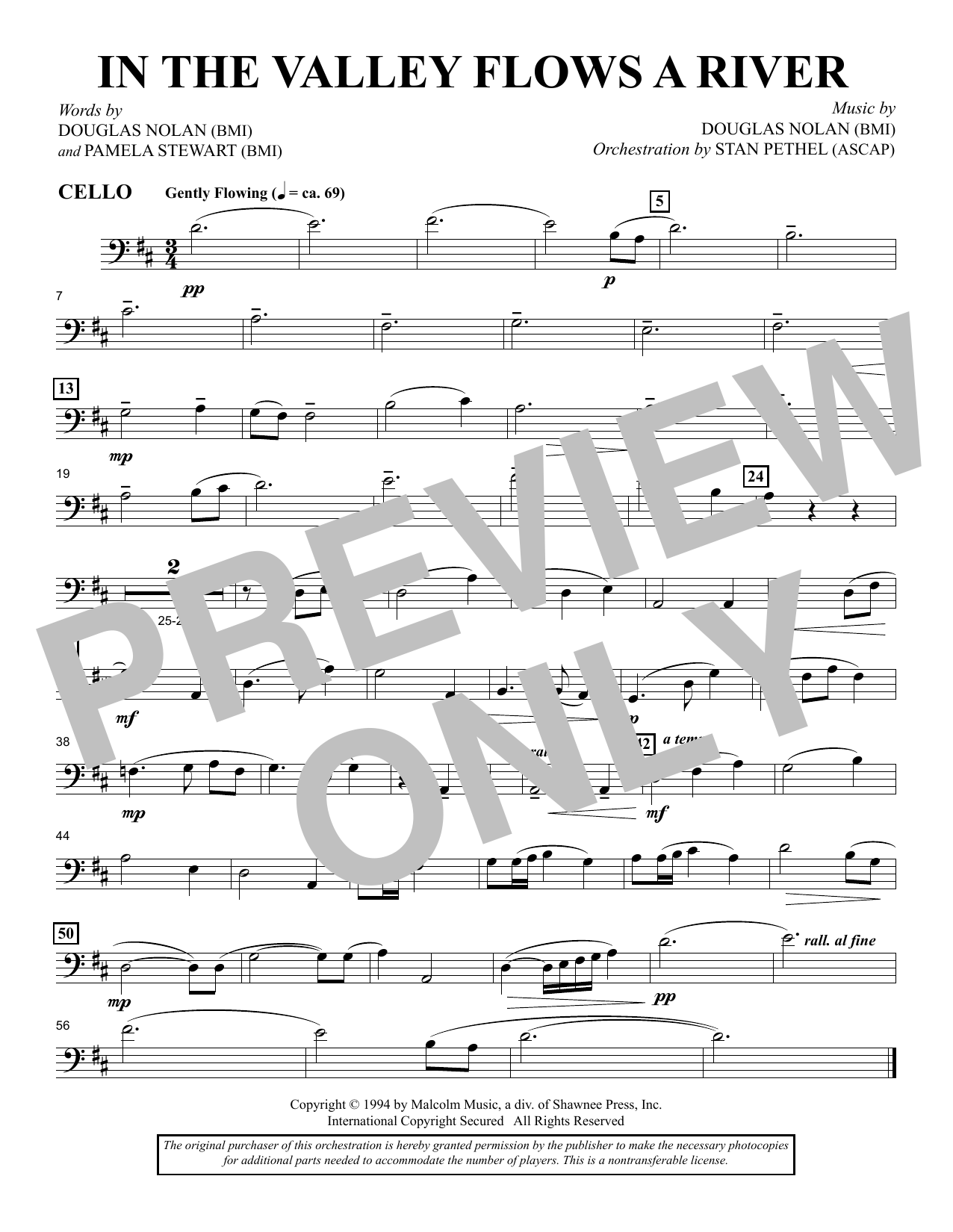 In the Valley Flows a River - Cello sheet music