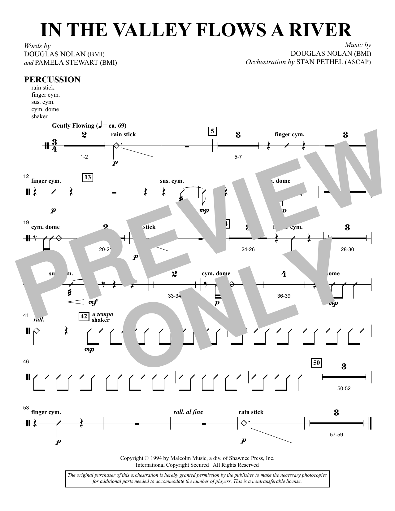 In the Valley Flows a River - Percussion sheet music