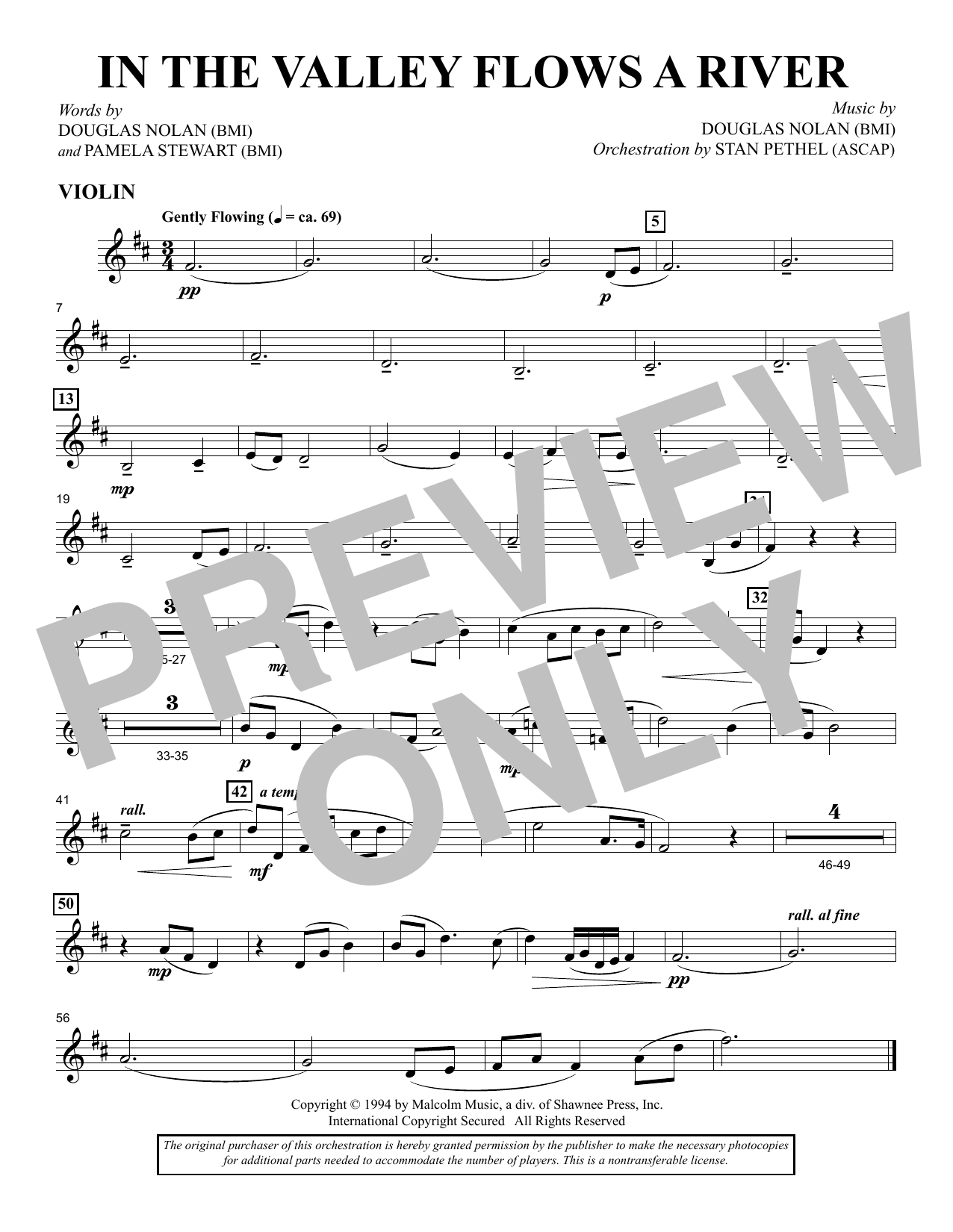 In the Valley Flows a River - Violin sheet music