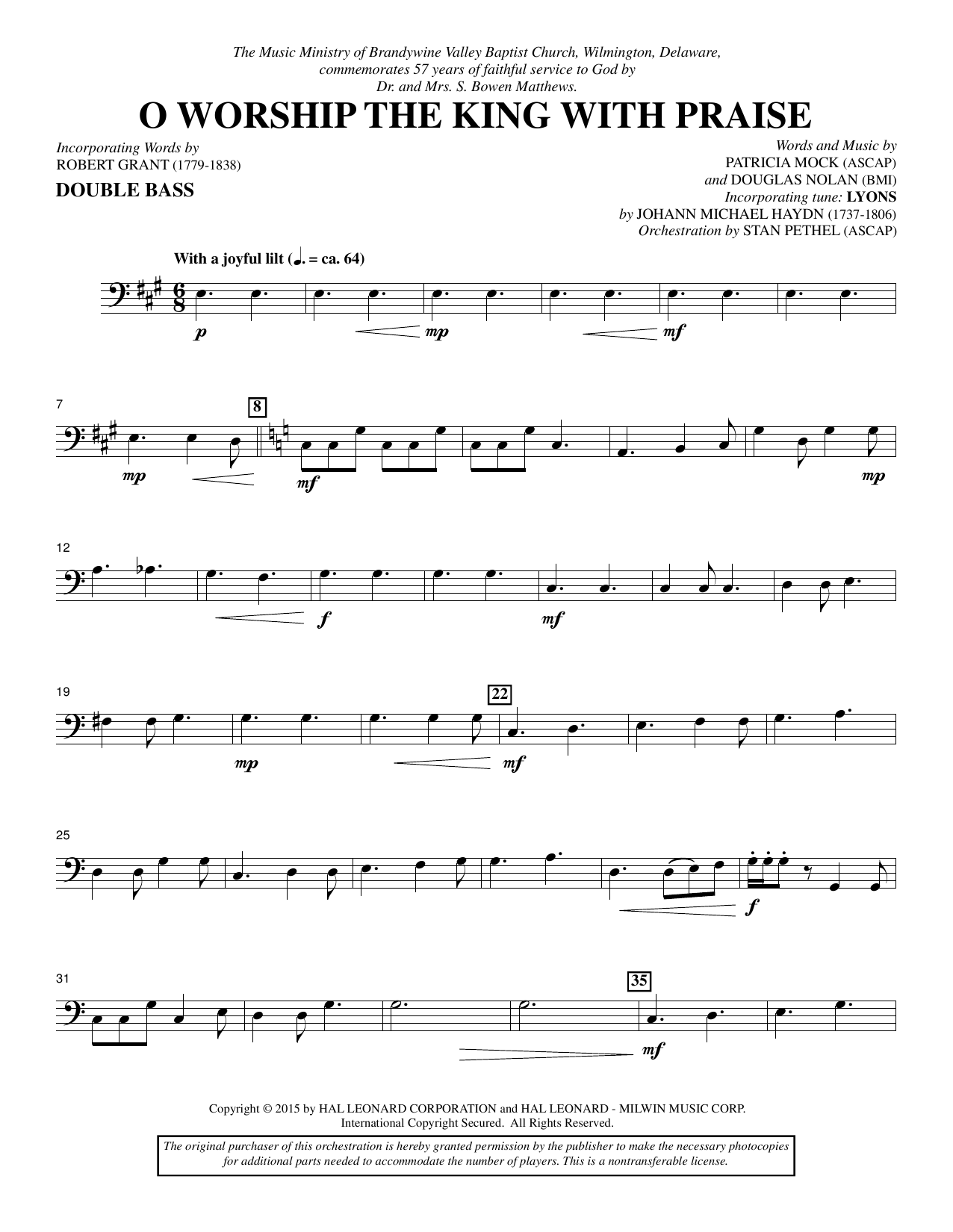 O Worship the King with Praise - Double Bass sheet music