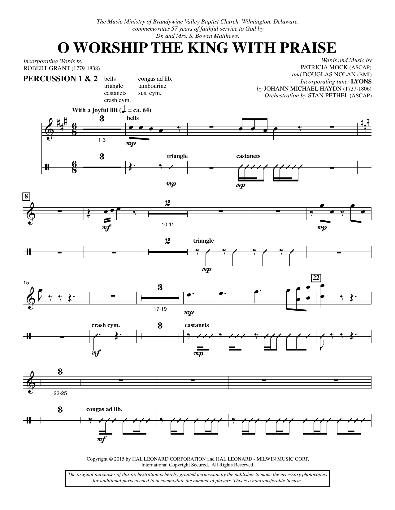 O Worship the King with Praise - Percussion 1 & 2 sheet music