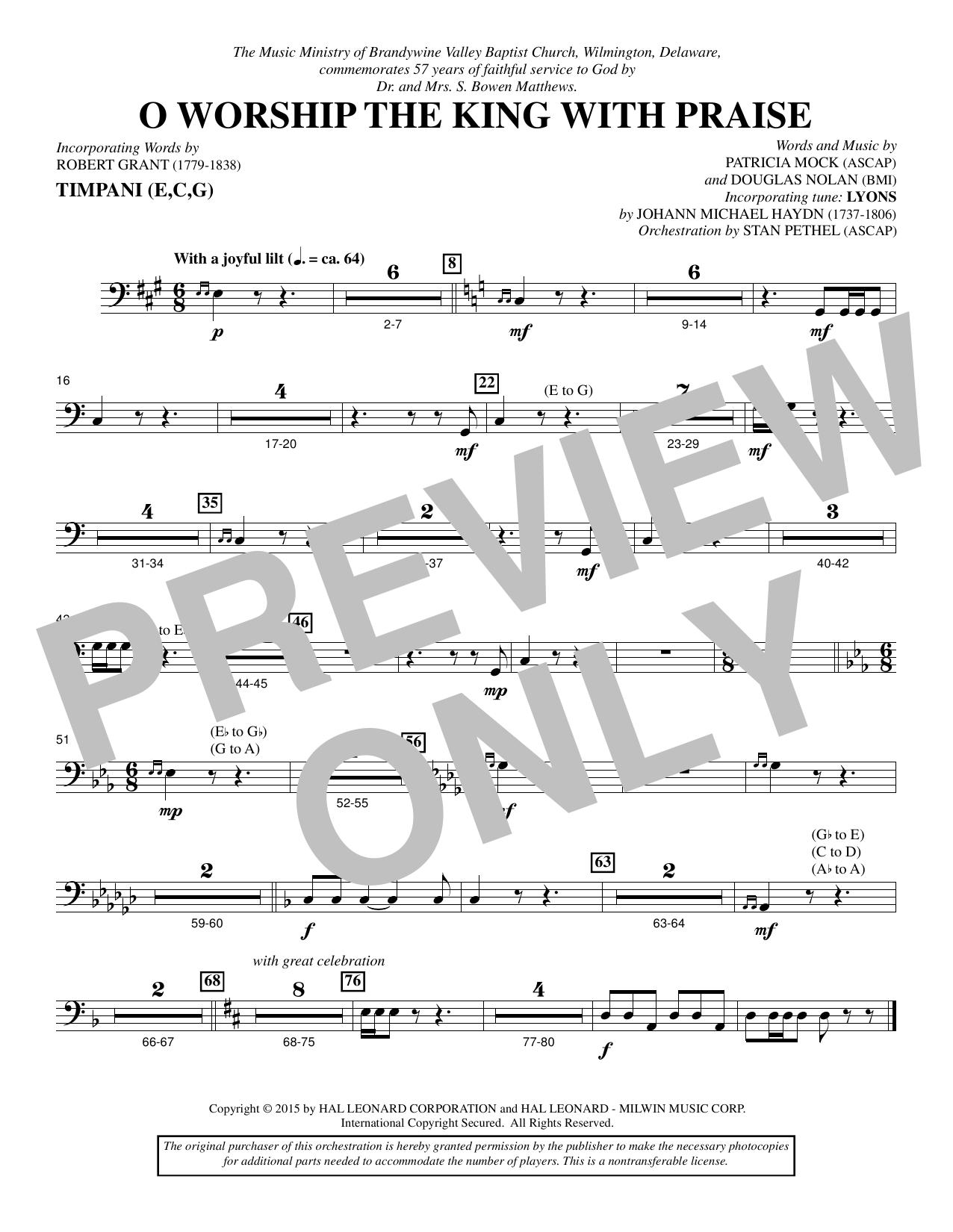 O Worship the King with Praise - Timpani sheet music