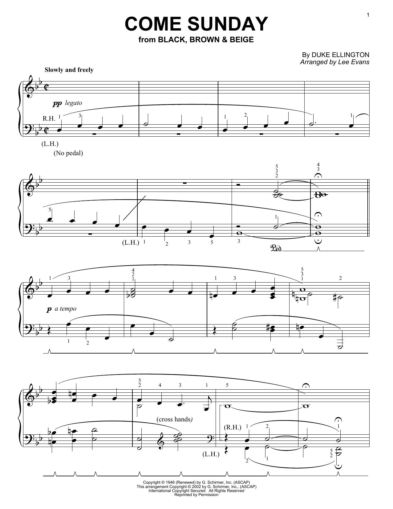 Come Sunday sheet music