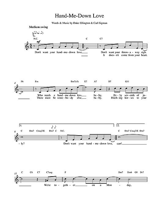 Hand Me Down sheet music