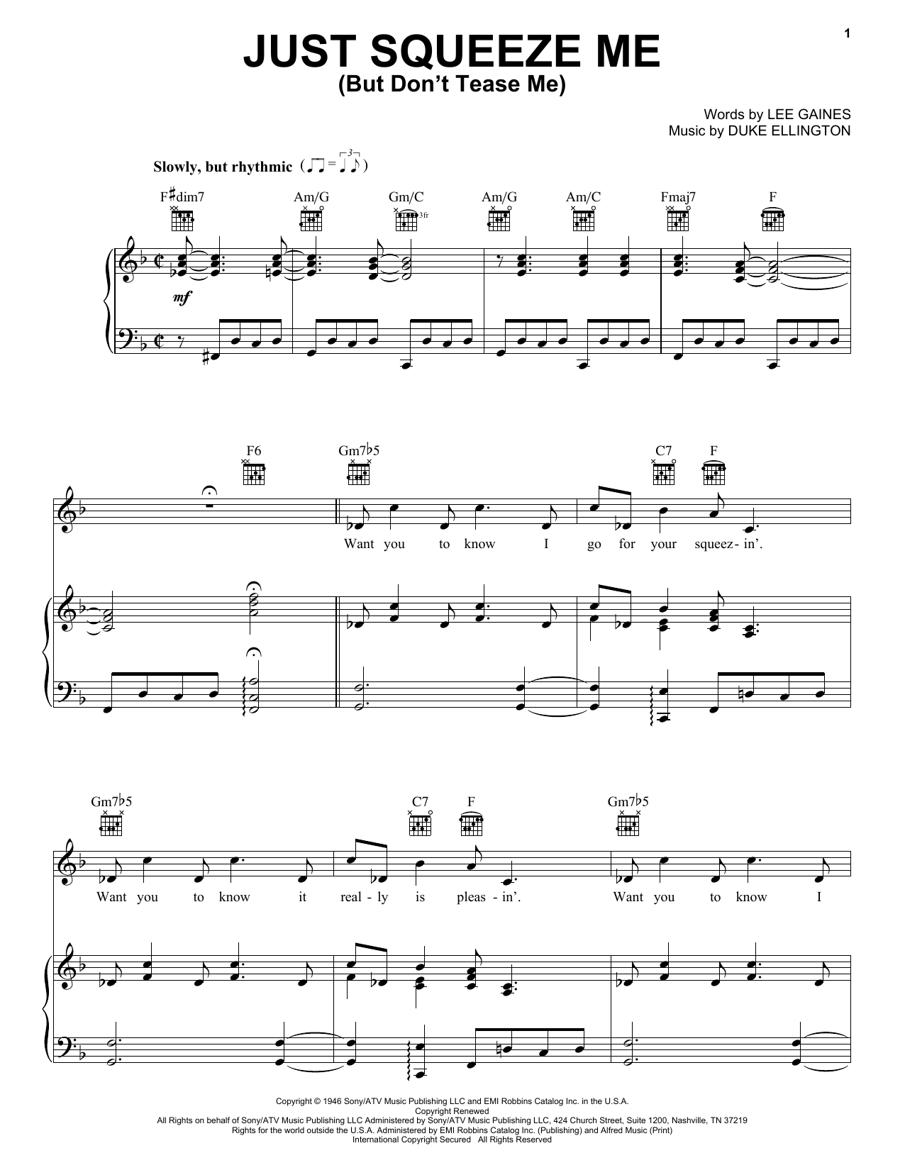 Just Squeeze Me (But Don't Tease Me) sheet music