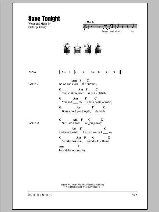 Save Tonight sheet music