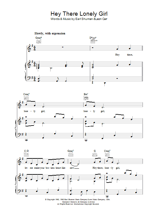 Hey There, Lonely Girl sheet music