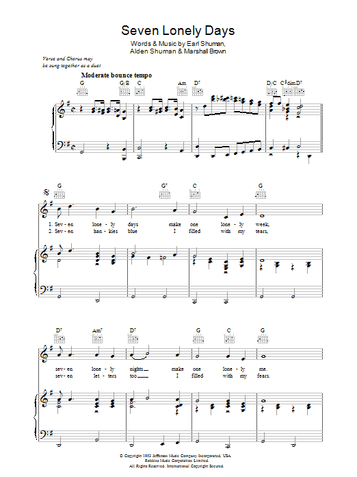 Seven Lonely Days sheet music