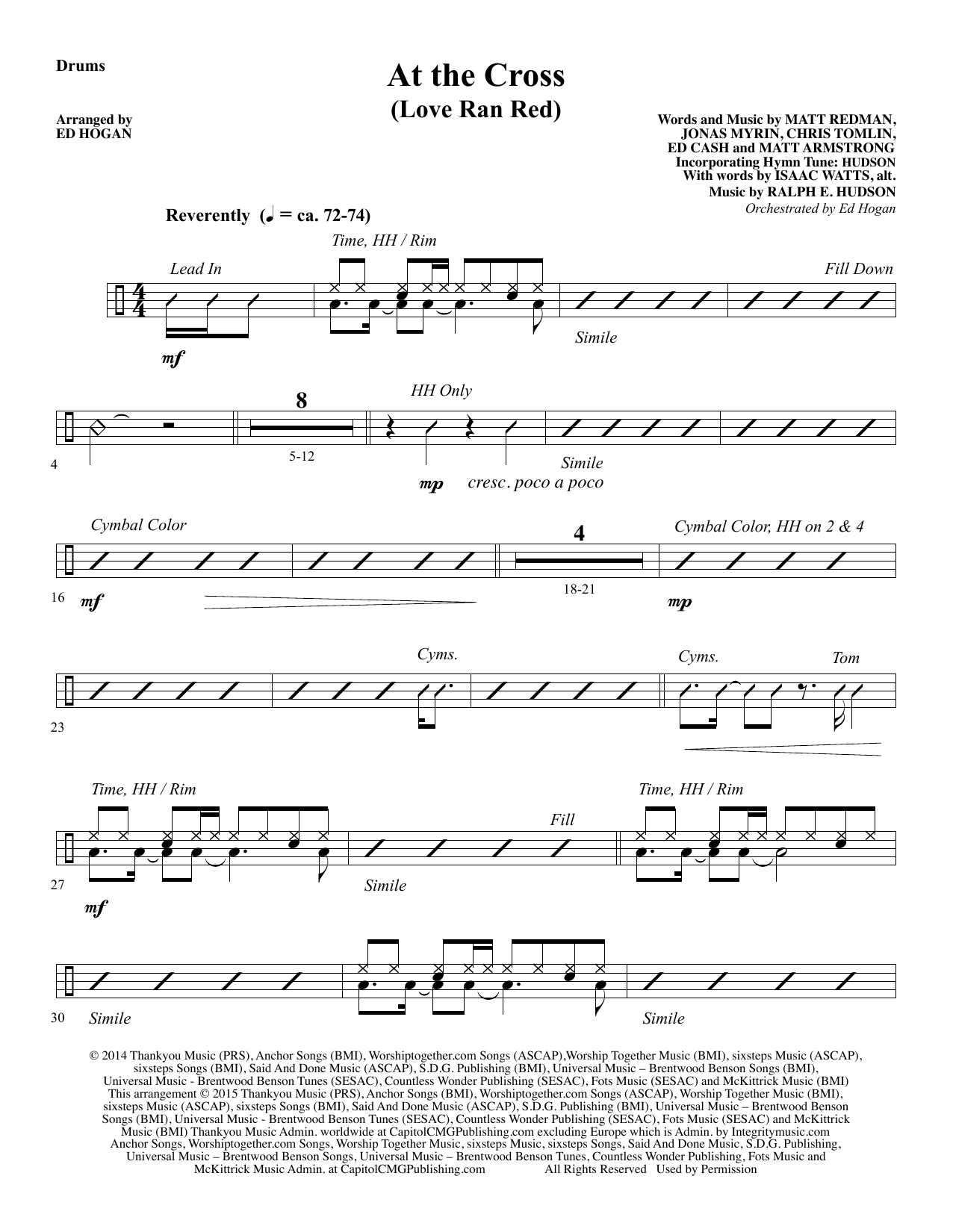 At the Cross - Drums sheet music