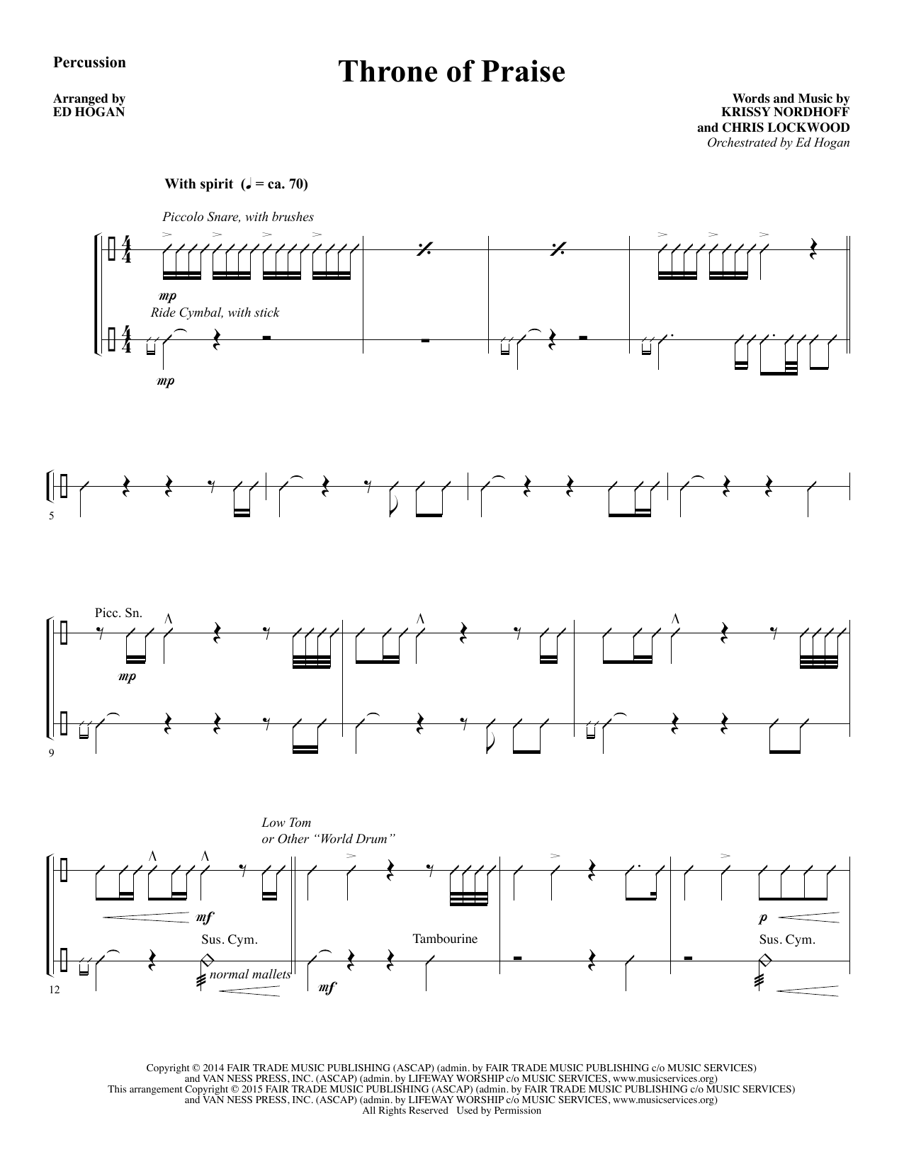 Throne of Praise - Percussion sheet music