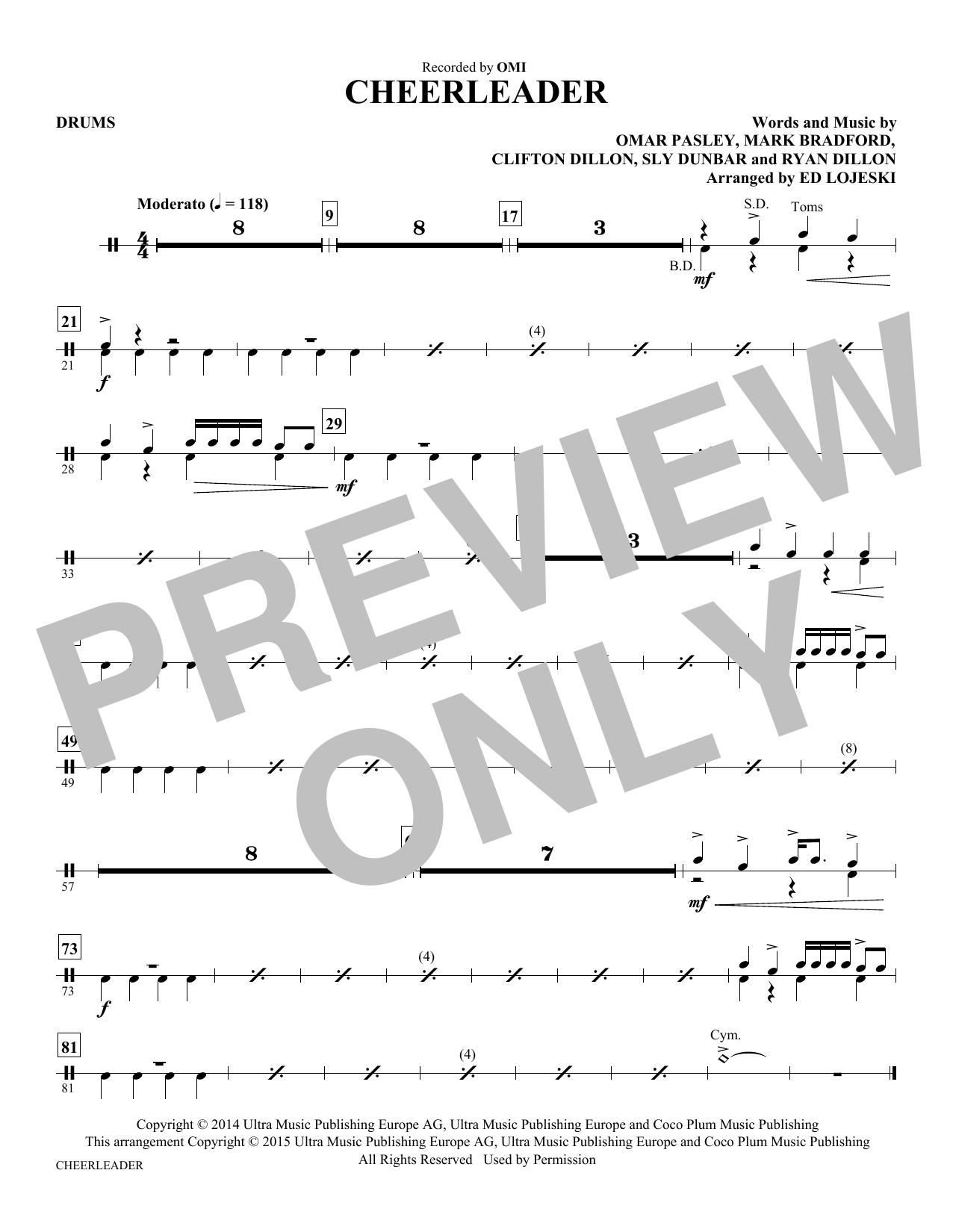 Cheerleader - Drums sheet music