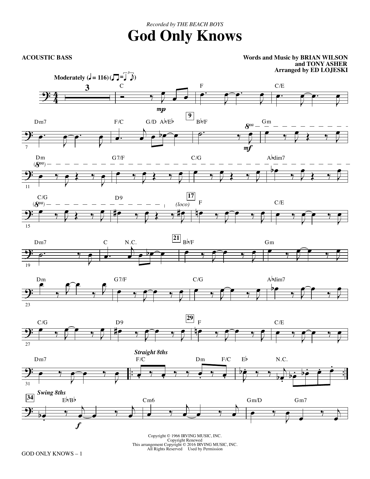 God Only Knows - Acoustic Bass sheet music