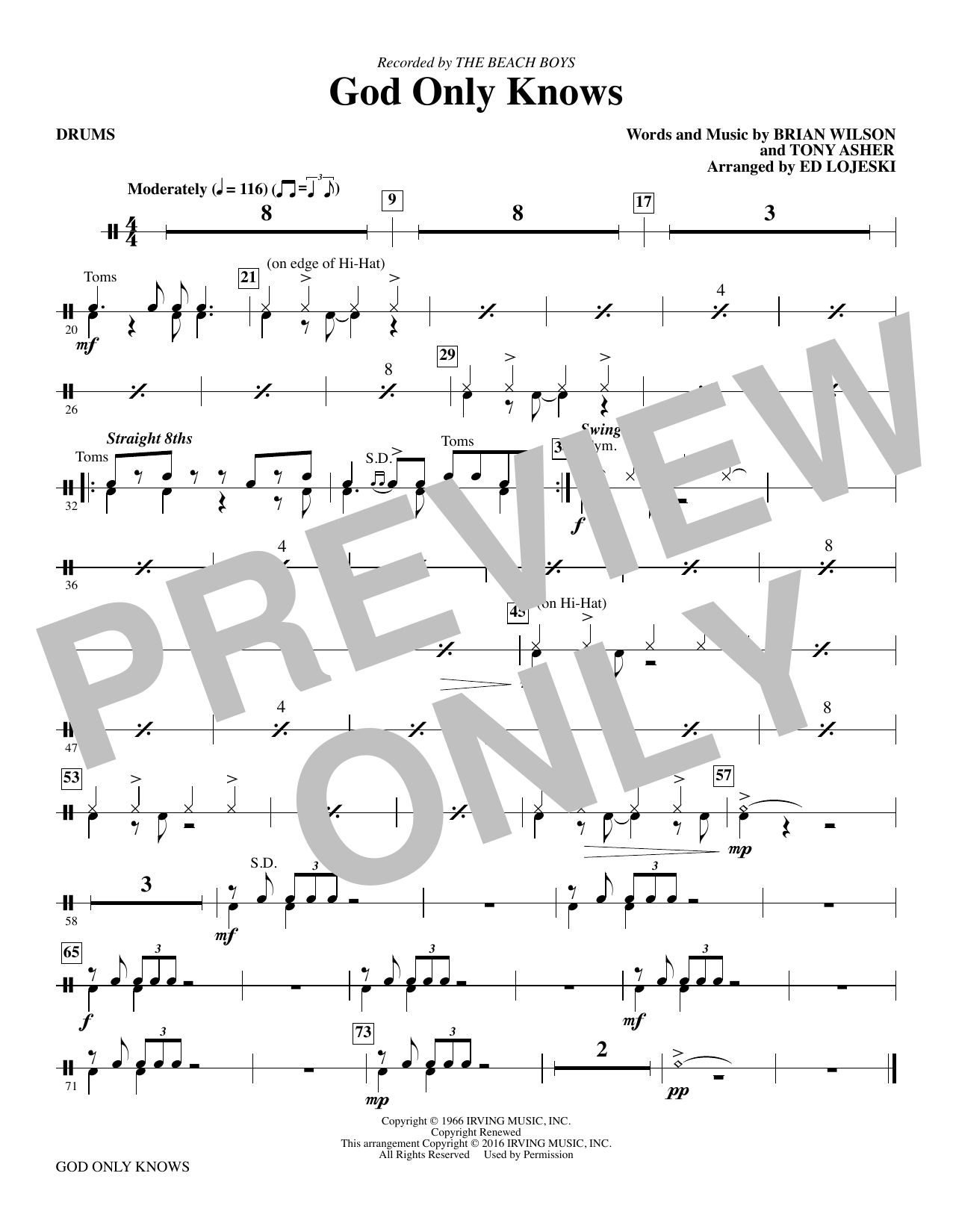 God Only Knows - Drums sheet music