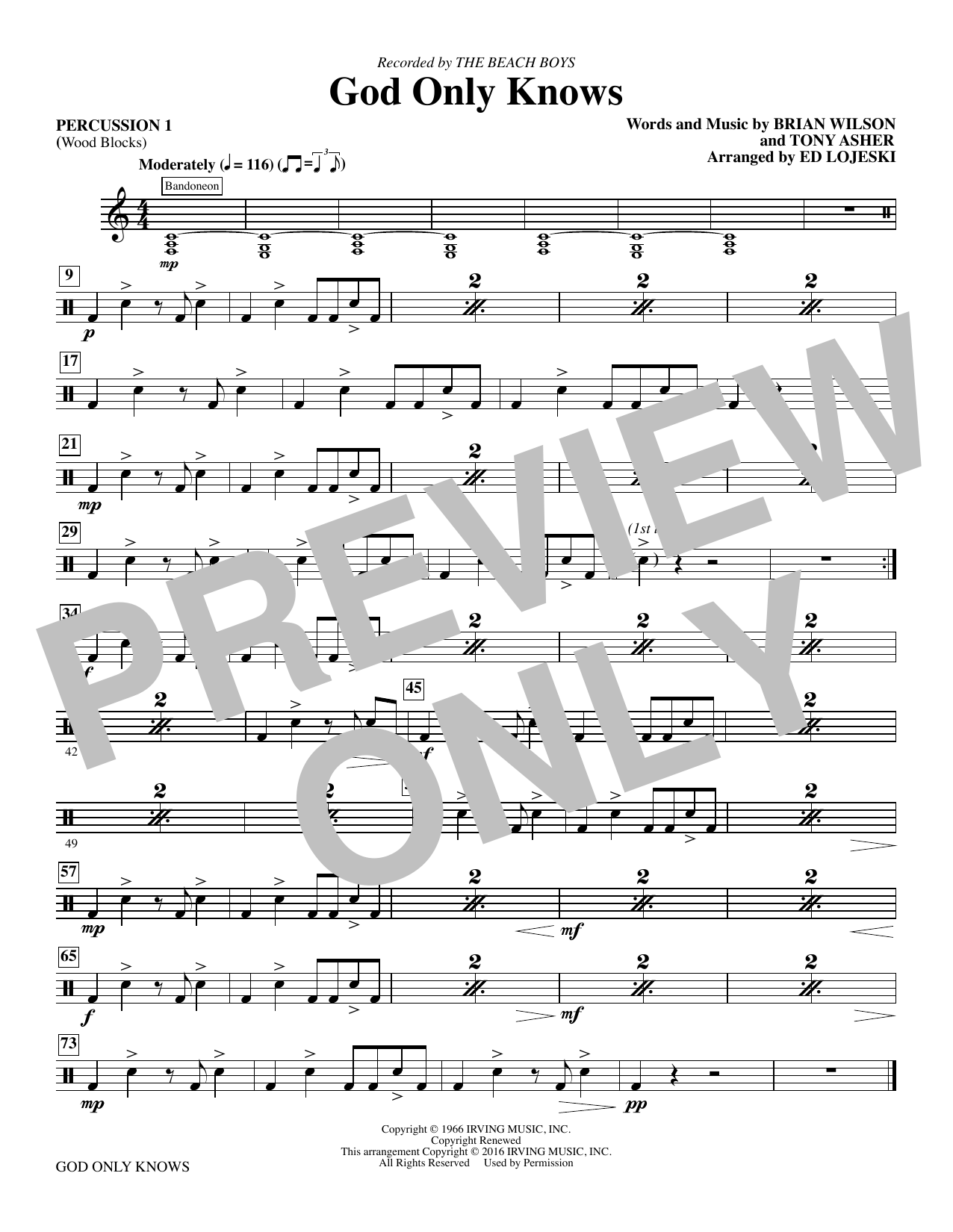 God Only Knows - Percussion 1 sheet music