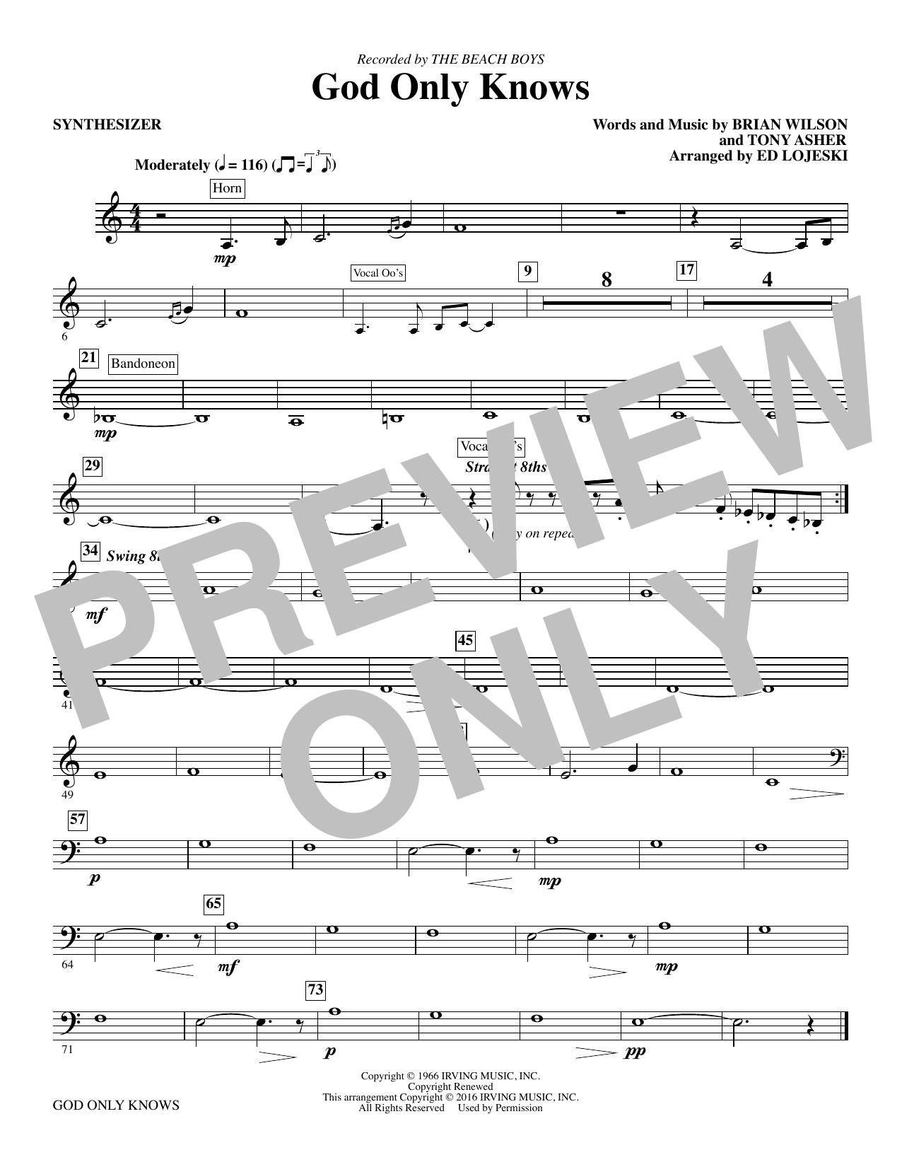 God Only Knows - Synthesizer sheet music