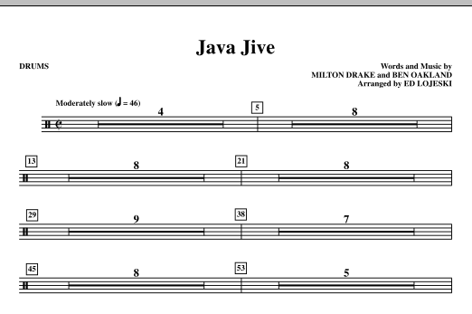 Java Jive (SSAA Octavo Accompaniment Parts) - Drums sheet music