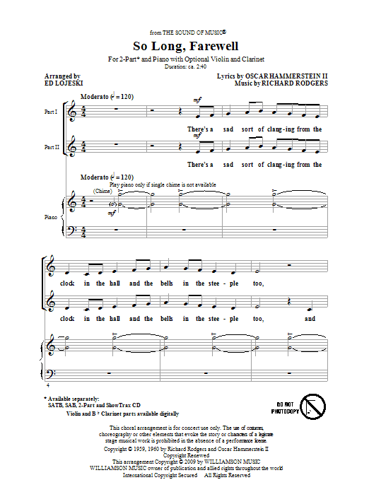 So Long, Farewell (from The Sound Of Music) sheet music