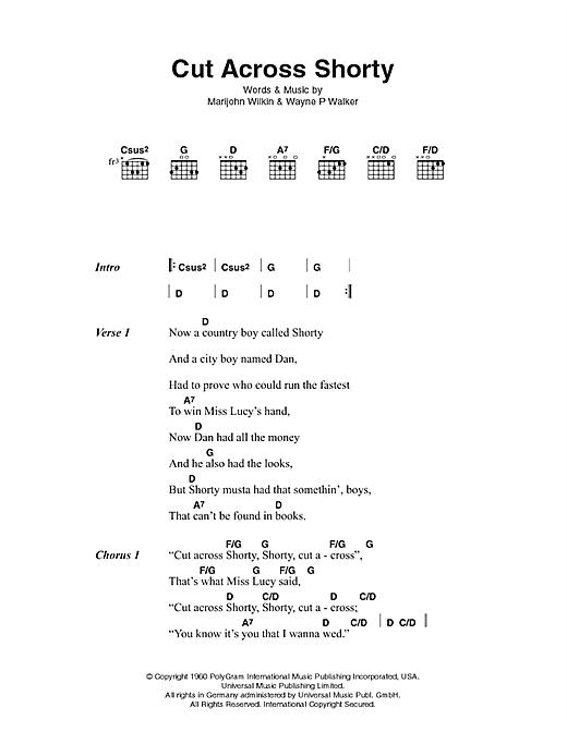 Cut Across Shorty sheet music