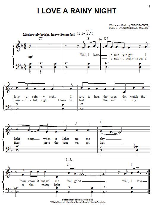 I Love A Rainy Night sheet music