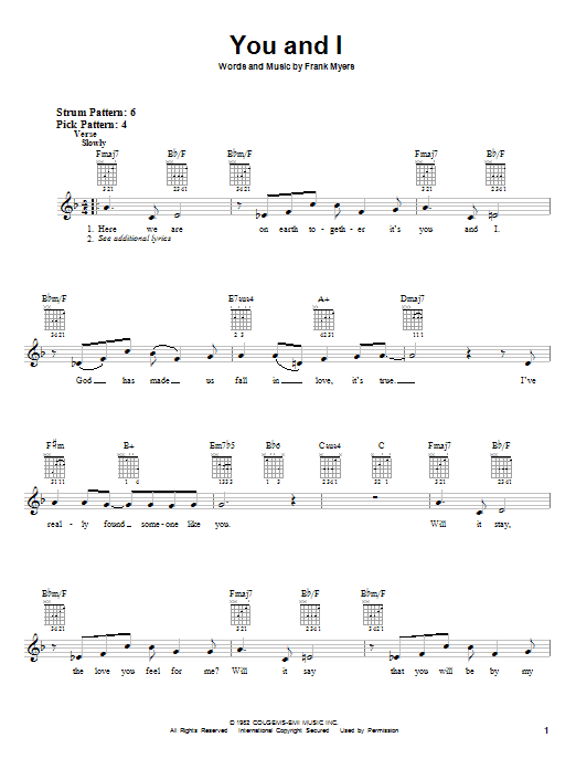 You And I sheet music