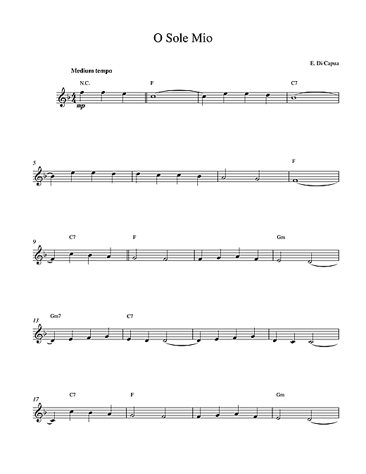 O Sole Mio sheet music