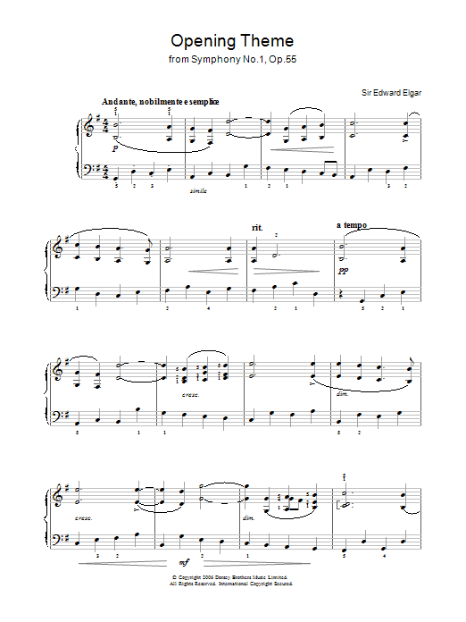Opening Theme from Symphony No.1, Op.55 sheet music