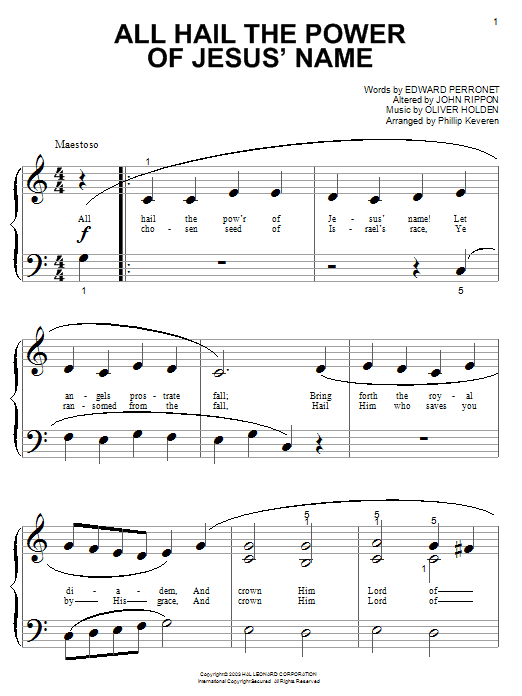 All Hail The Power Of Jesus' Name sheet music