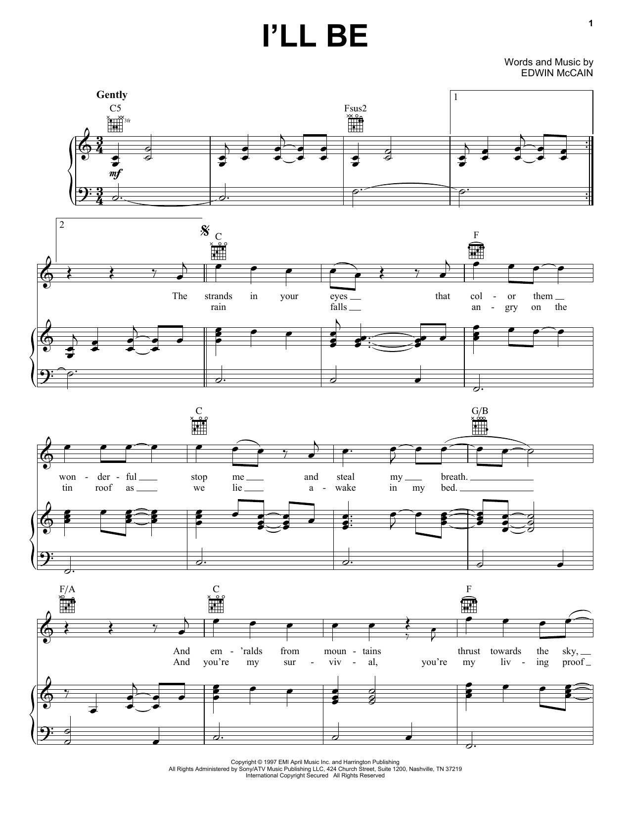 I'll Be sheet music