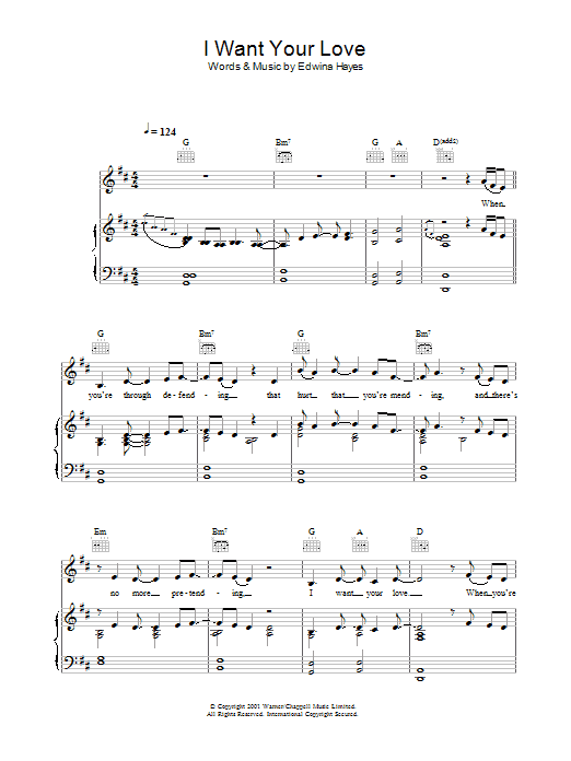 I Want Your Love sheet music