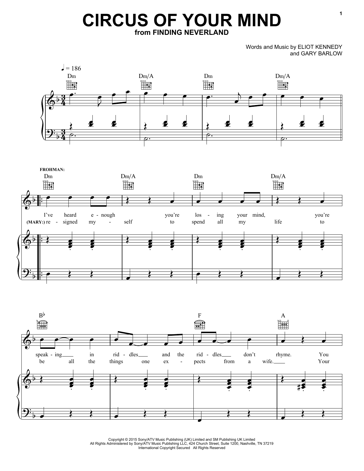 Circus Of Your Mind sheet music