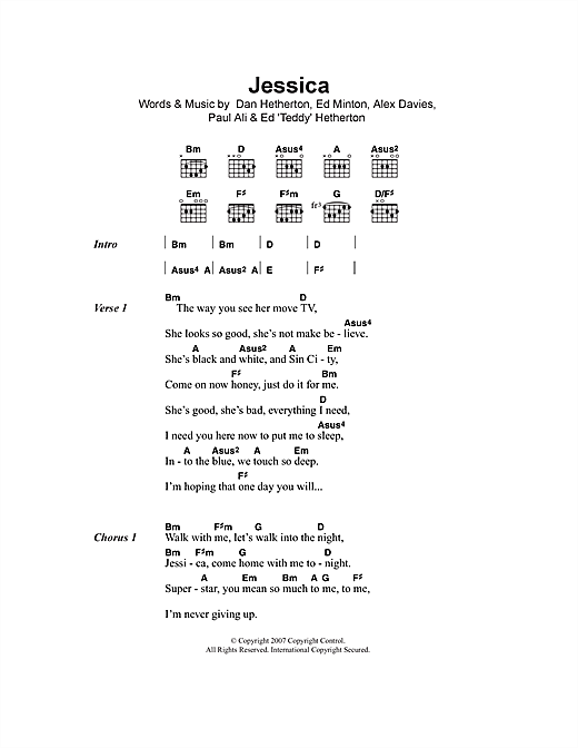 Jessica sheet music