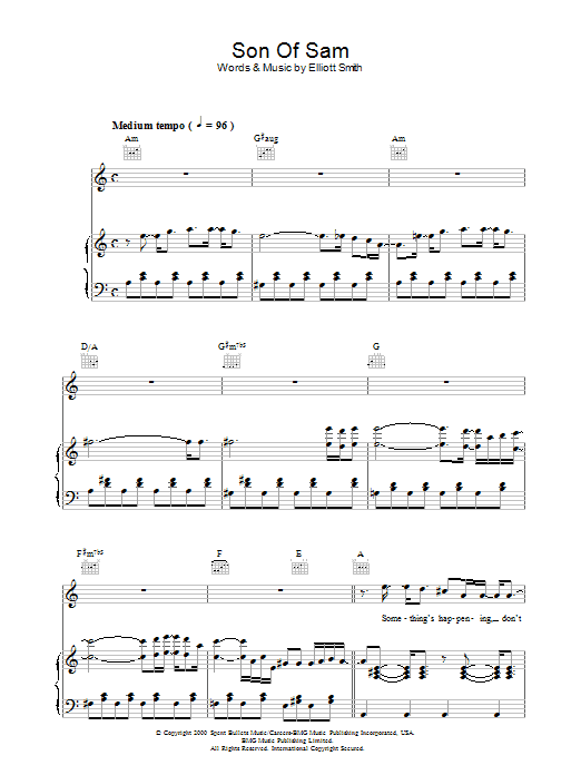 Son Of Sam sheet music