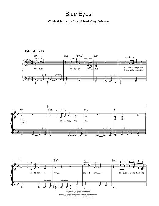 Blue Eyes sheet music