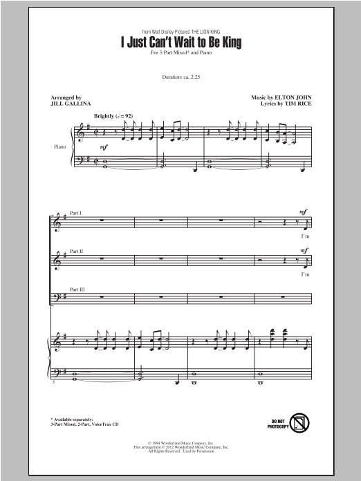 I Just Can't Wait To Be King (arr. Jill Gallina) sheet music