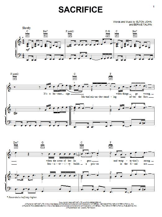 Sacrifice sheet music