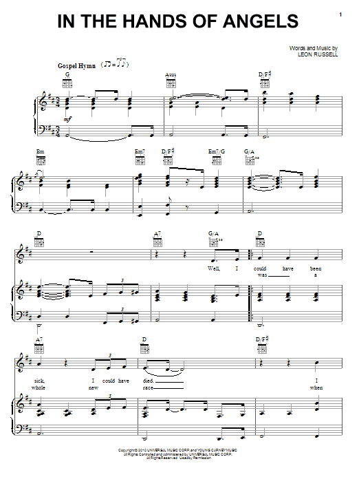 In The Hands Of Angels sheet music