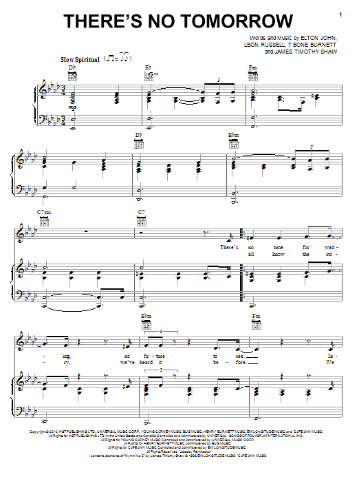 There's No Tomorrow sheet music
