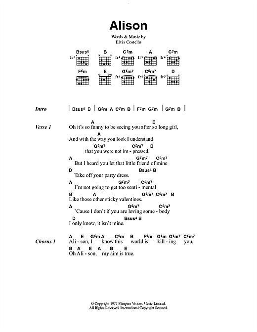 Alison sheet music