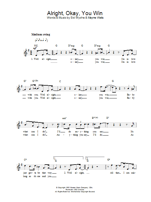 Alright, Okay, You Win sheet music