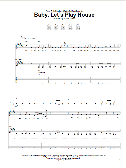 Baby, Let's Play House sheet music
